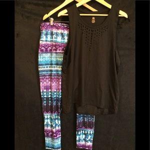 Gaiam yoga pants and tank top